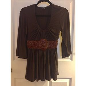 NWT Sky Chocolate Brown Belted Top Size Large